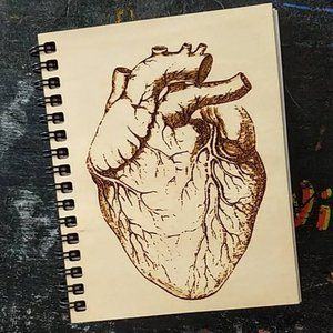 Human Heart Wooden Laser Etched Notebook NWT